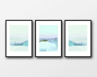 Watercolor art prints,  Watercolor landscape paintings blue landscape set of 3 watercolor paintings, giclee prints  the blue hour