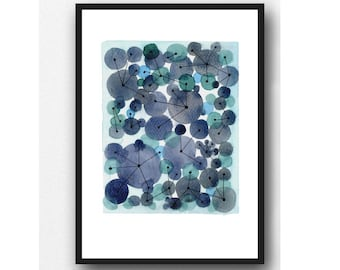 Point an Line, Indigo Blue painting, Constellation, abstract watercolor with Blue Circles