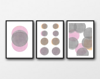 Abstract watercolor paintings grey pink circles / abstract watercolor prints minimal art set of 3 prints