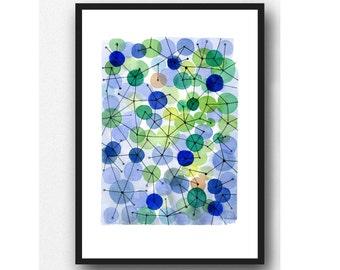 Constellation blue-green circles, abstract art Print, Abstract Watercolor painting blue-green Wall Art