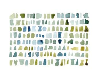 modern wall art, mossy green watercolor green blue watercolor painting, abstract watercolor print