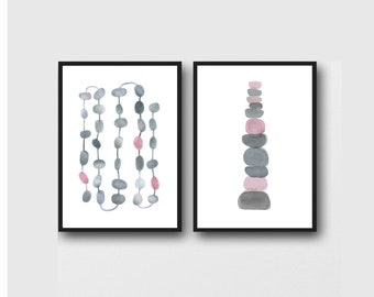 Minimalist Abstract Prints, Gray -Pink Wall Art, Scandinavian Art Prints, Minimalist Art, Set of 2 prints