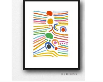 Colorful Abstract Art Print, Summer Print Art, fresh bold colors, modern Wall  Art