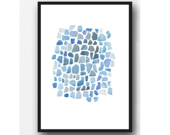 Cobalt Blue Sea Glass Watercolor Painting, Abstract Watercolor Print, Minimalist Nautical Bathroom Art