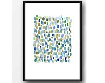 Rain, Abstract Watercolor Art Print,  Watercolor Art Blue Green Drops