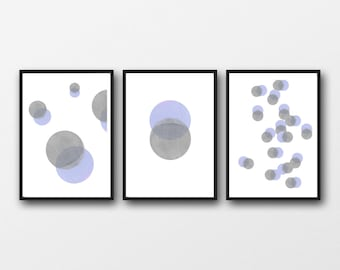Abstract Watercolor Prints Set, Moon Phase, Set of 3 Prints, Abstract Modern Living Room Decor, Minimalist Art