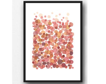 Living coral Abstract watercolor painting, Baby Shower gift