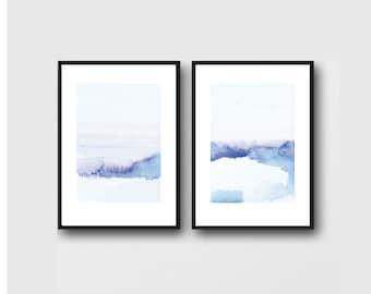 Abstract Landscape, Landscape watercolor Painting, Landscape Wall Art, Watercolor wall art, Set of 2 Prints