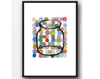 Colorful Kitchen Art Print, Happy Home décor, Jar painting