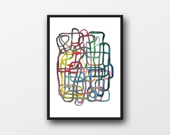 """Watercolor Painting, Abstract Art Print, Modern Art Lines  """"Right track"""""""