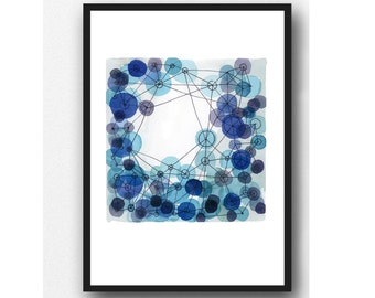 Outer space watercolor cobalt blue circles Watercolor painting, Abstract painting connections, large print