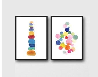 Baby Boy Nursery Wall Art, Set of 2 Colorful Prints Children's Wall art, Nursery Decor, New Baby Gift