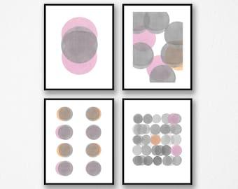 Abstract Watercolor Print Set of 4, Gray Pink, Watercolor Prints, Abstract Minimalist Gallery Wall