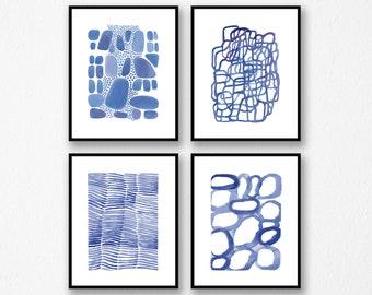 Blue Wall Art, Set of 4 Watercolor Art Prints, Nautical home decor, Bathroom decor