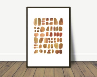 Watercolor pebbles Art, Abstract Watercolor Painting, Beach Finds
