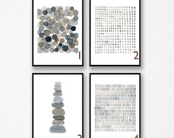 Abstract Art Prints, Set of prints, Minimal Watercolor Paintings,  Giclee Prints, Gray Minimal Art
