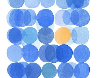 Circles Art Print, Abstract Watercolor Print, Modern Minimalist Wall Art