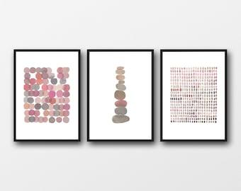 Set of 3 Watercolor Prints, Nursery room decor, minimal Gallery Wall Art