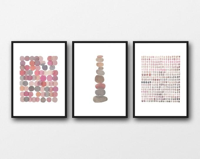 Featured listing image: Set of 3 Watercolor Prints, Nursery room decor, minimal Gallery Wall Art
