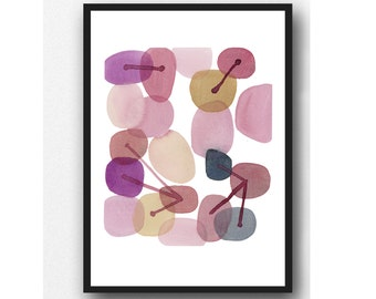 Original watercolor painting - pink painting - abstract watercolor pink painting, connecting