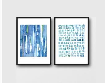 watercolor print set, blue watercolor paintings, set of 2 Watercolor prints, abstract paintings