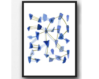 Watercolor Painting Sea Glass Art,  Abstract Painting Blue Watercolor Print Nautical Home Decor