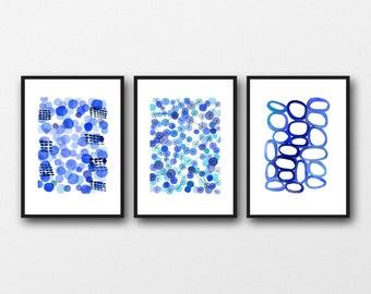 Blue Art Set of 3 Watercolor paintings, Blue Bathroom Art, Cobalt Blue Wall Art, Abstract Watercolor Prints