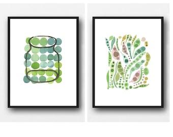 Set of 2 prints, Kitchen Art, Food Print, Watercolor Prints