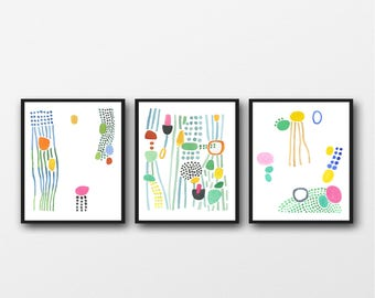 Set of 3 Abstract Watercolor Prints, Summer Art Prints, Abstract Art set, Nursery Room Decor, Colorful Modern Art