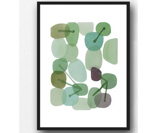 Abstract Watercolor Painting, Green Pebble Art, Watercolor Print, Connections