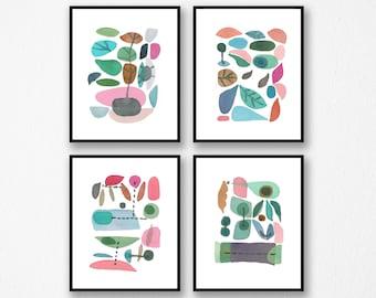 Set of 4 prints, Abstract Watercolor Prints, Scandinavian Design, Kitchen decor, Gallery Wall prints