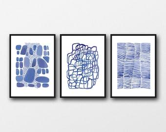 watercolor print set, blue Wall decor, set of 3 prints, watercolor paintings blue watercolor  prints, abstract art prints, nautical style