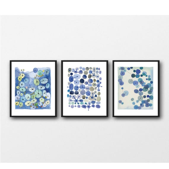 Set Von 3 Aquarell Drucke Set Wohnzimmer Dekor Abstrakte | Etsy