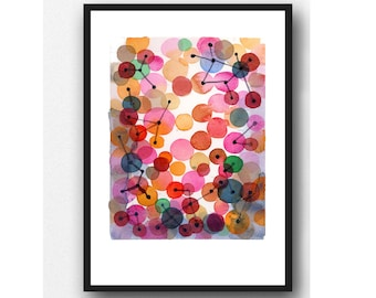 Abstract Painting, Watercolor Print, Constellation, Red pink Circles