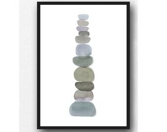 Pebble Art Print, Minimalist Zen decor, Modern Nursery decor