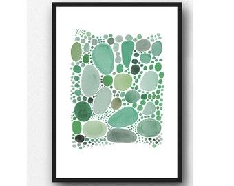 Art by Louise van Terheijden, Abstract Watercolor Green Pebbles, Watercolor Print