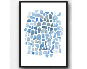 Beach House Decor, Sea Glass Art Print, Abstract Watercolor Painting