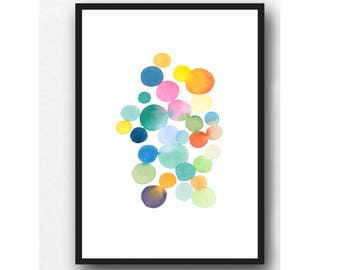 Colorful Abstract Wall Art, Watercolor Painting Modern Home Decor, Art for Nursery room