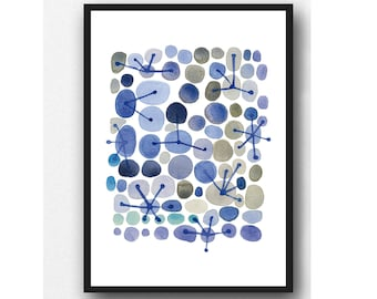 watercolor print blue gray, abstract Watercolor painting, abstract art connections, constellation