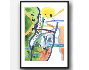 Colorful Abstract Art, Colorful Wall Art, Abstract Watercolor print, colorful painting, Contemporary Wall Art