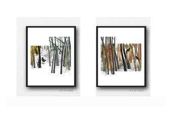 Gift for bird lover, Gifts for Him, Bird watercolor Set of 2 Watercolor prints, Father's Day gift for men, Husband Gift