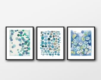 Set of 3 Watercolor Prints, Bathroom wall Art, Living Room Gallery Wall, Abstract Modern Art