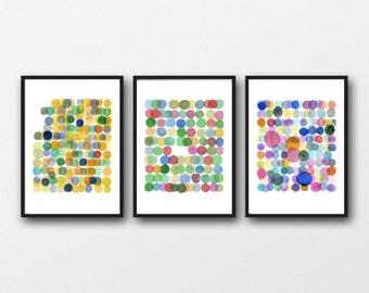 Set of 3 Prints, Colored Circles, Nursery Decor, Modern Wall Art