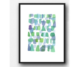 Original Watercolor Painting, Beach House Art, Sea Glass Art, Abstract Blue-Green Painting, One of a kind
