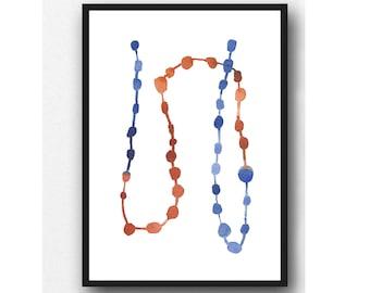Minimalist Print, Minimalist Art, Abstract Art Print, Blue Red Minimalist Wall Art