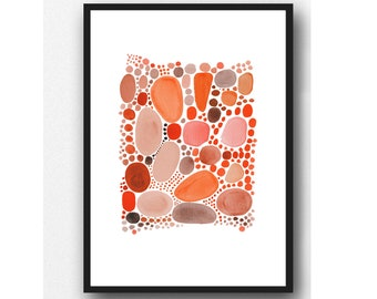 Living Coral Art Print, Abstract Watercolor Painting, Pantone color 2019