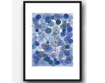 Point an Line, Blue painting, Constellation, abstract watercolor Blue Circles, abstract modern wall art