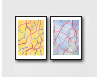 Office Decor, Abstract Lines, Watercolor Prints, Set of 2 Art Prints Yellow and Blue, Gallery Wall Art