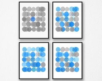 Gallery Wall set, Abstract Art Prints, Set of 4 prints, Minimal Watercolor Paintings, Gray Blue Art Prints