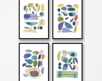 Set of 4 prints, Gift for her, Nature inspired prints, watercolor paintings, kitchen decor, home decor, Scandinavian Art prints